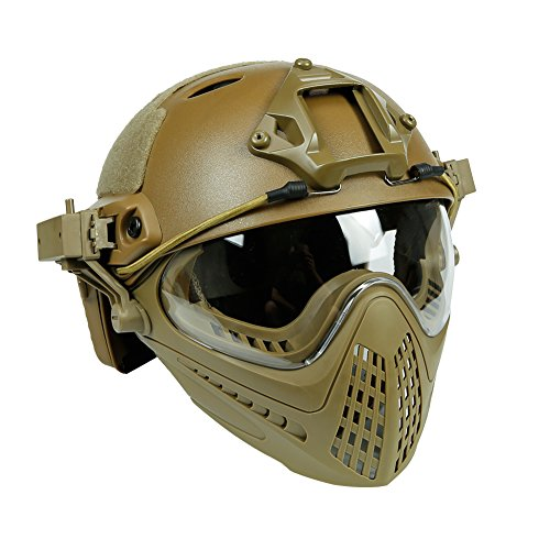 Wildoor Airsoft Helmet 2 Airsoft Tactical Fast PJ Helmet Camouflage with Removable Full Face Mask Goggles for Hunting Shooting Wargame Military