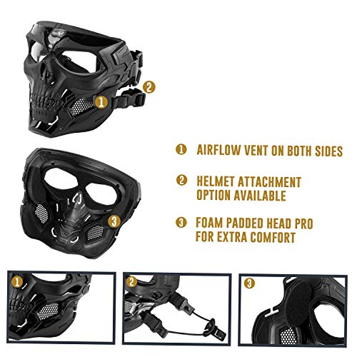 Black Orca Airsoft Mask 5 Black Orca Skull Full-Face Mask for Airsoft Helmet