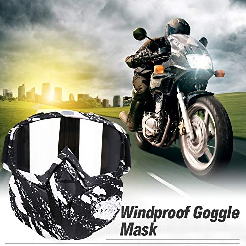 PiscatorZone Airsoft Mask 6 PiscatorZone Motorcycle Goggles Mask CS/Paintball/Skiing/Riding/Cycling/Halloween/Costume Ball-UV Proof Windproof Anti-Fog Protective Detachable Adjustable Tactical Glasses