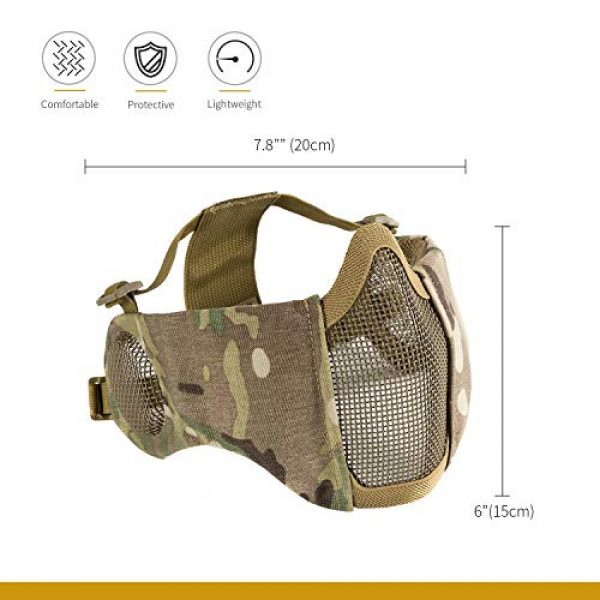"""OneTigris Airsoft Mask 3 OneTigris 6"""" Foldable Half Face Airsoft Mesh Mask with Ear Protection"""