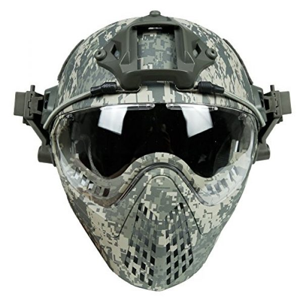 LEJUNJIE Airsoft Helmet 6 LEJUNJIE PJ Tactical Fast Helmet & Full-Covered Military Protective Army Combat Airsoft Paintball Helmet Protect Ears with Mask Goggle