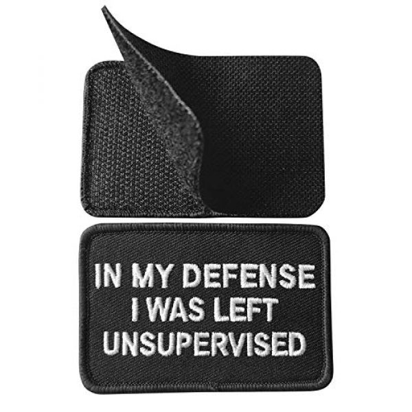 Ebateck Airsoft Morale Patch 5 2 Pack in My Defense I was Left Unsupervised Patch - Embroidered Morale Patches Tactical Funny for Hat, Backpack, Jackets (Applique Fastener Hook & Loop)