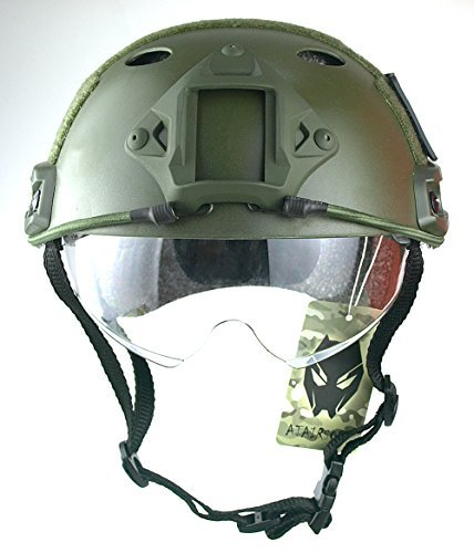 ATAIRSOFT Airsoft Helmet 2 ATAIRSOFT Breathable Tactical Airsoft Fast PJ Helmet w/Sliding Goggles OD Green