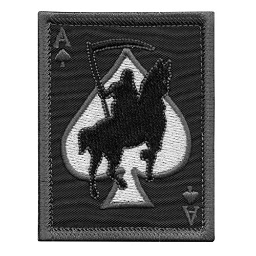 LEGEEON Airsoft Patch 1 LEGEEON ACU Subdued Ace of Spades Grim Reaper Death Card Morale Tactical Skull Skeleton Fastener Patch