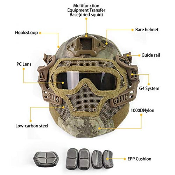 ActionUnion Airsoft Helmet 3 ActionUnion PJ Fast Tactical Helmet Airsoft Full Face Mask with Goggles Molle Mesh Breathable Eye Protection for Military CS Paintball Shooting Hunting Cycling Motorcycle Outdoor Sport-at