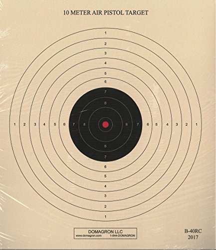 DOMAGRON Airsoft Target 1 DOMAGRON 10 Meter (33 Ft.) Air Pistol Single Bullseye Red Center Variant of The Official NRA Target - B-40/1