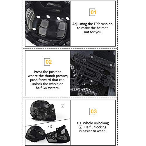 ActionUnion Airsoft Helmet 6 ActionUnion PJ Fast Tactical Helmet Airsoft Full Face Mask with Goggles Molle Mesh Breathable Eye Protection for Military CS Paintball Shooting Hunting Cycling Motorcycle Outdoor Sport-at