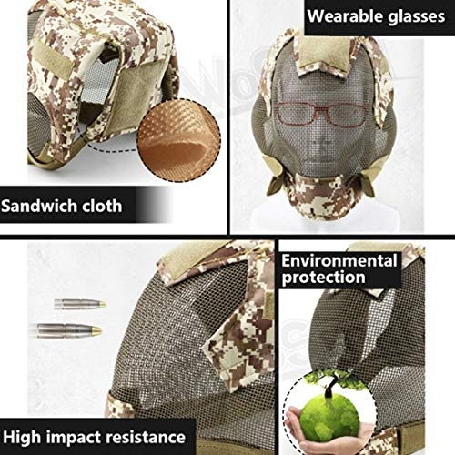 wusasa Airsoft Helmet 3 wusasa Airsoft Mask Full Face Tactical Head Protective Mask Steel Mesh Military Paintbal War Game Mask