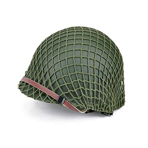 BYHai Airsoft Helmet 2 BYHai WWII US Army M1 Green Helmet Replica Adjustable with Net/Canvas Chin Strap Tactical Paintball Gear for Adults
