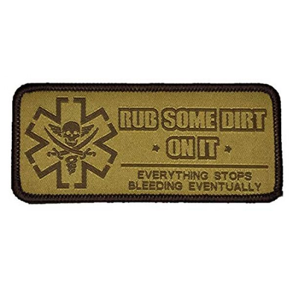 F-Bomb Morale Gear Airsoft Patch 1 Rub Some Dirt On It - Version 2, Medic, EMS, EMT, Paramedic - Embroidered Morale Patch (Tan)