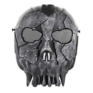 Flexzion Airsoft Mask 1 Flexzion Tactical Airsoft Mask Paintball Game Full Face Protection Skull Skeleton Safety Guard in Silver for Outdoor Activity Party Movie Props Fit Most Adult Men Women