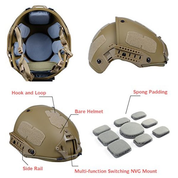 Fast Ballistic Helmet for Airsoft Paintball Hunting Shooting Outdoor Sports