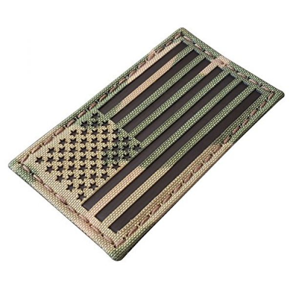 Tactical Freaky Airsoft Morale Patch 2 Bundle Set of 2 Multicam Infrared IR USA American Flags Forward and Reversed 3.5x2 Morale Fastener Patches