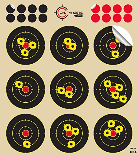 """CHLTargets.com Airsoft Target 1 Reactive Targets (Peel-and-Stick - Adhesive Target) 3"""" Bulls Eye 9-Up Target - Biggest Reactive/Splatter Effect Providing Visual Feedback & Easy Hit Identification 10"""" H x 11"""" W"""