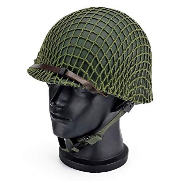 BYHai Airsoft Helmet 1 BYHai WWII US Army M1 Green Helmet Replica Adjustable with Net/Canvas Chin Strap Tactical Paintball Gear for Adults