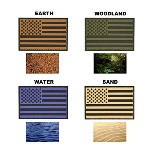 Great 1 Products Airsoft Patch 3 Great 1 Products American Flag Patch Set, 2x3 inch, PVC with Velcro Backing, Hook and Loop, Military and Tactical Accessory for Clothing-Jackets-Hats-Backpacks (Earth Tone Flags)