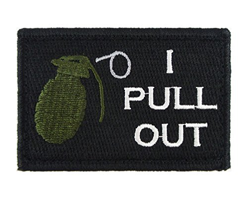 Morale Tags Airsoft Patch 1 I Pull Out Grenade Hook and Loop Fully Embroidered Morale Tags Patch (Black and White)