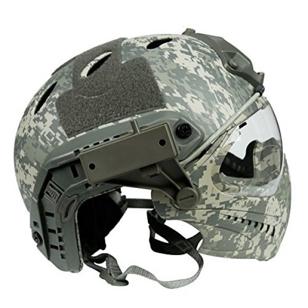 LEJUNJIE Airsoft Helmet 2 LEJUNJIE PJ Tactical Fast Helmet & Full-Covered Military Protective Army Combat Airsoft Paintball Helmet Protect Ears with Mask Goggle