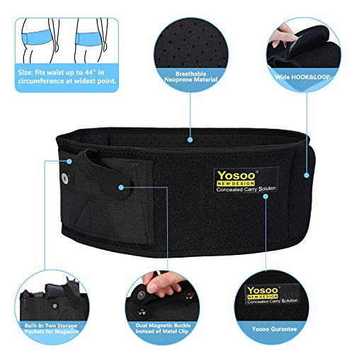 Elastic Breathable Waistband Gun Holster with Magazine Pouch