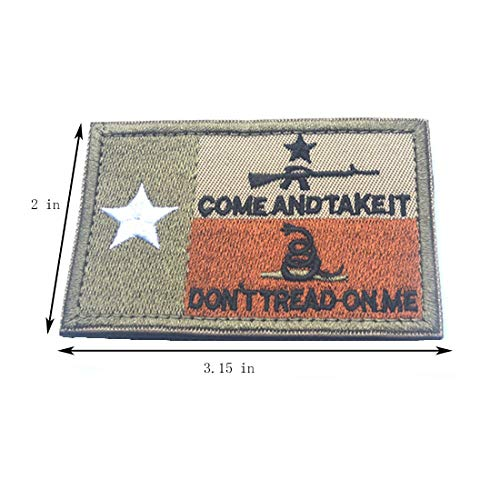 Homiego Airsoft Patch 3 Homiego Texas State Flag Military Tactical Morale Desert Badge Hook & Loop Embroidery Patch for Hat Backpack Jacket (Texas State Flag - B)