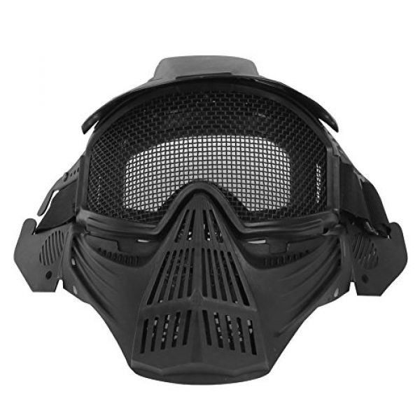 A&N Airsoft Airsoft Mask 2 WoSporT Tactical Transformers Leader Mask Steel Mesh Breathable Full Face Safety CS Field Airsoft Wargame Paintball Army Masks - Black