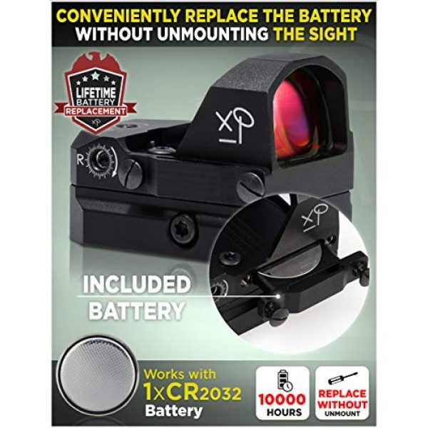CREATIVE XP Airsoft Gun Sight 2 CREATIVE XP HD Red Dot Sight 3 MOA Tactical Reflex Sight for Day & Night Time Easy to Zero on a Glock or Rifle - Glock Mount Plate