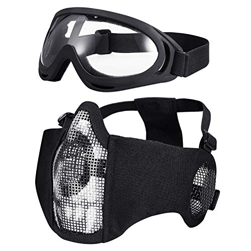 KUYOU Airsoft Mask 1 KUYOU Airsoft Mask Adjustable Half Metal Steel Mesh Mask Ear Protection Face Mask with UV400 Goggles Set for Hunting