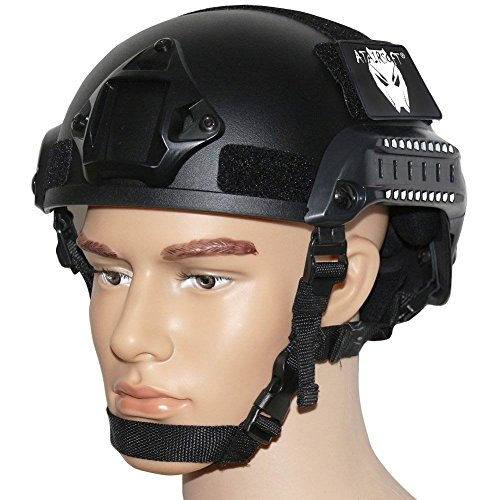 ATAIRSOFT Airsoft Helmet 2 ATAIRSOFT PJ Type Tactical Airsoft Paintball MICH 2001 Helmet with Side Rail & NVG Mount