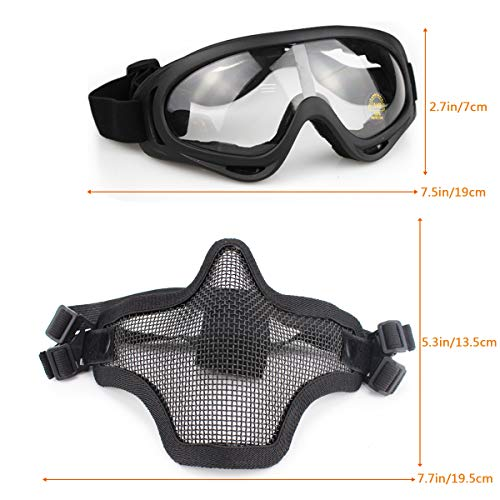 Half Face Full Steel Mesh Mask and Goggles for CS/Hunting/Paintball/Shooting