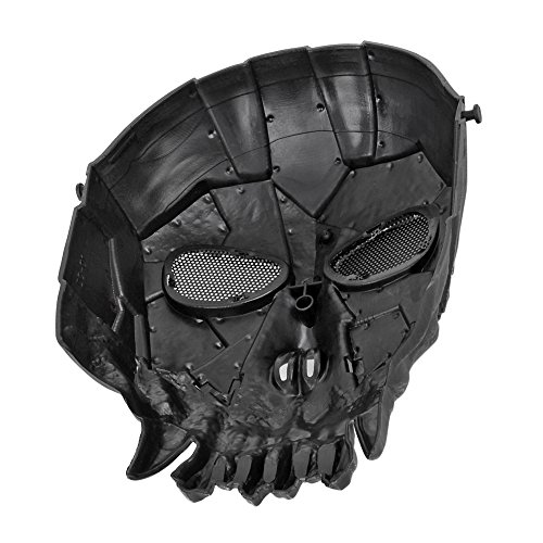Flexzion Airsoft Mask 3 Flexzion Tactical Airsoft Mask Paintball Game Full Face Protection Skull Skeleton Safety Guard in Silver for Outdoor Activity Party Movie Props Fit Most Adult Men Women