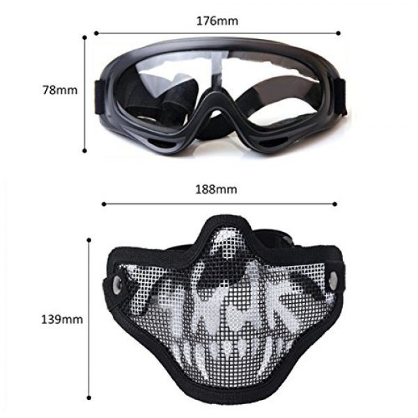 Outgeek Airsoft Mask 7 Outgeek Airsoft Half Face Mask Steel Mesh and Goggles Set
