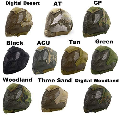 wusasa Airsoft Helmet 2 wusasa Airsoft Mask Full Face Tactical Head Protective Mask Steel Mesh Military Paintbal War Game Mask