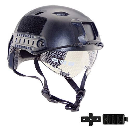 iMeshbean Airsoft Helmet 1 iMeshbean Airsoft Swat Helmet Combat Fast Helmet with w/Protective Goggles (Black)