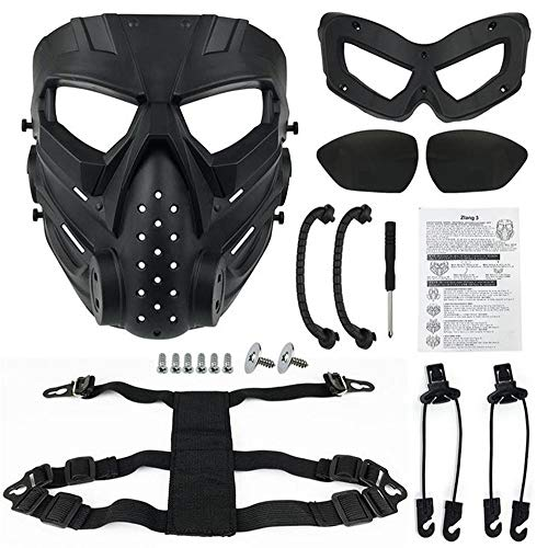 JFFCESTORE Airsoft Mask 7 JFFCESTORE Original Creation Tactical Anti-Fog Airsoft Mask with Clear Lens Protective Full Face mask Dual Mode Wearing Design Adjustable Strap for Airsoft Paintball Cosplay Costume Party Hockey