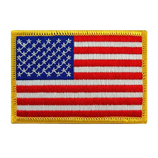 Cypress Collectibles Embroidered Patches Airsoft Patch 1 American Flag Embroidered Patch Gold Border USA United States of America Military Uniform Emblem