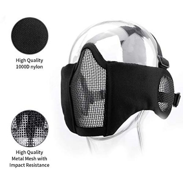 KUYOU Airsoft Mask 2 KUYOU Airsoft Mask Adjustable Half Metal Steel Mesh Mask Ear Protection Face Mask with UV400 Goggles Set for Hunting
