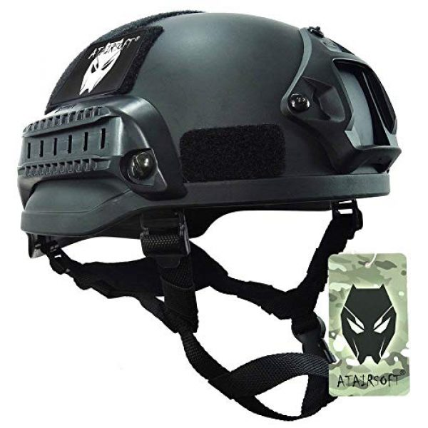 ATAIRSOFT Airsoft Helmet 1 ATAIRSOFT PJ Type Tactical Airsoft Paintball MICH 2002 Helmet with Side Rail & NVG Mount