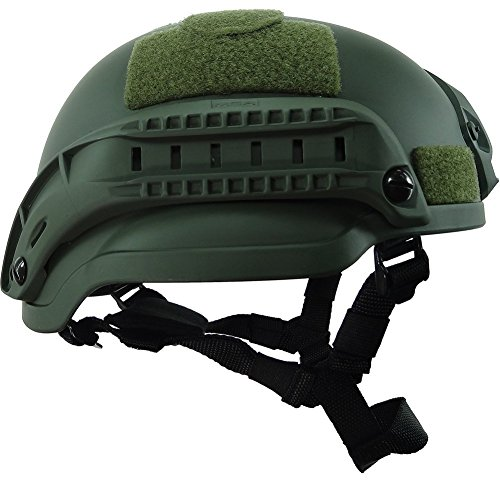 H World Shopping Airsoft Helmet 2 H World Shopping MICH 2002 Combat Protective Helmet with Side Rail & NVG Mount for Airsoft Tactical Military Paintball Hunting