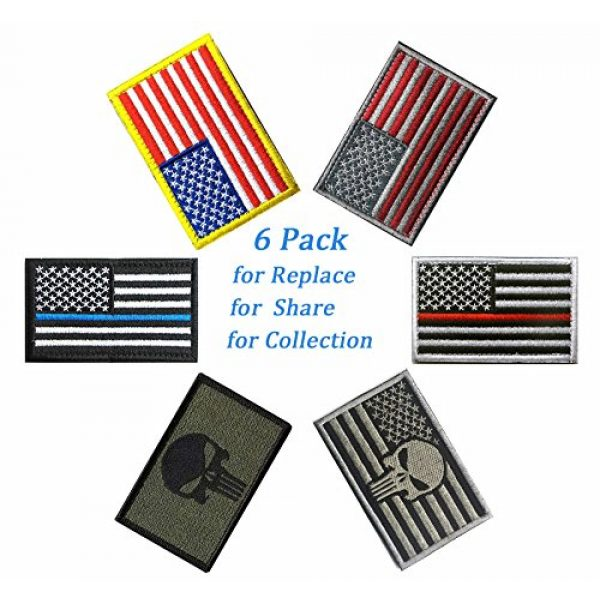 TOWEE Airsoft Patch 2 US Flag Patches, TOWEE 6 Pack American Flag USA Flags Punisher Patches Tactical Tags Patch Military Patch Embroidered Border America Military Uniform Emblem Morale Patches