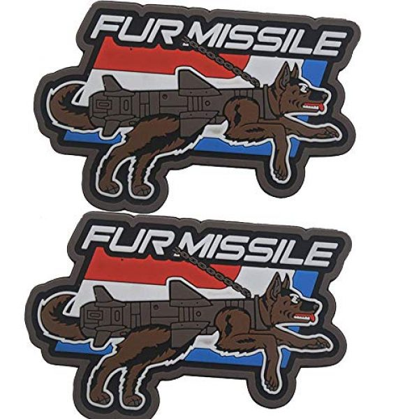 Ansellf Airsoft Patch 3 Fur Missile Morale Patch Dog Tactical Patches Hook Military Badge 3D PVC Fur Missile K9 Dog Badge Police Dog Tactical Harness Vest Airsoft Patches