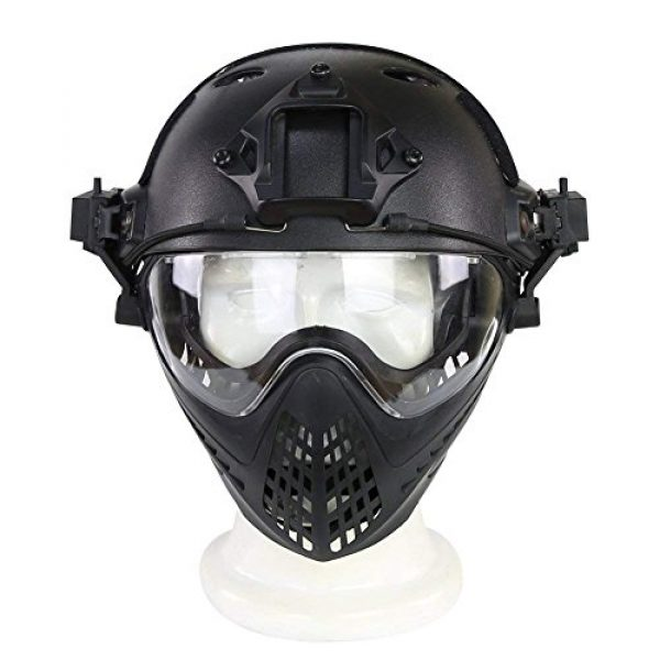 Wildoor Airsoft Helmet 2 Airsoft Helmet Tactical Fast PJ Type with Removable Full Face Mask Goggles for Hunting Shooting CS Game Wargame Military Black
