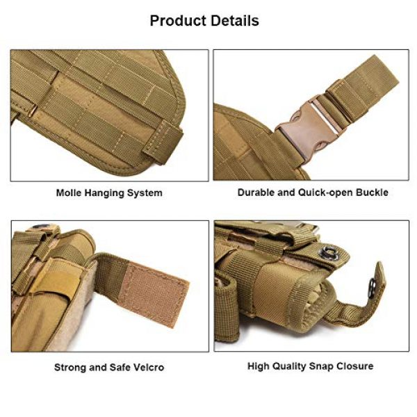 ESA Supplies  4 ESA Supplies Molle Airsoft Holster with Magzine Pouch Drop Leg Holsters Tactical Thigh Holsters for Glorck G17 G18 G19 G26 G34 M1911