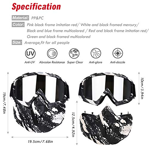 PiscatorZone Airsoft Mask 3 PiscatorZone Motorcycle Goggles Mask CS/Paintball/Skiing/Riding/Cycling/Halloween/Costume Ball-UV Proof Windproof Anti-Fog Protective Detachable Adjustable Tactical Glasses