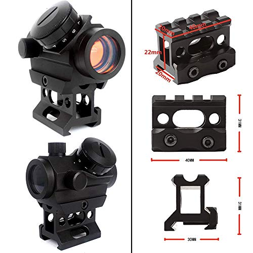 Robin Hunting Airsoft Gun Sight 3 Robin Hunting Tactical Micro Reflex Red Dot Sight + 3X Magnifier Scope with Quick Detach Flip to Side + 3 Slots Riser Mount Adapter Combo Kit for Hunting Shooting