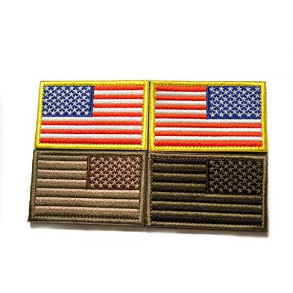 Tekma Sport Airsoft Patch 5 Tekma Sport American Flag Hook and Loop Tactical Patch Combination Pack, Standard and Reverse
