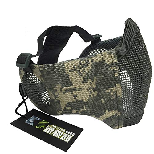 NO B Airsoft Mask 2 NO B Tactical Foldable Mesh Mask with Ear Protection for Airsoft Paintball with Adjustable Baseball Cap
