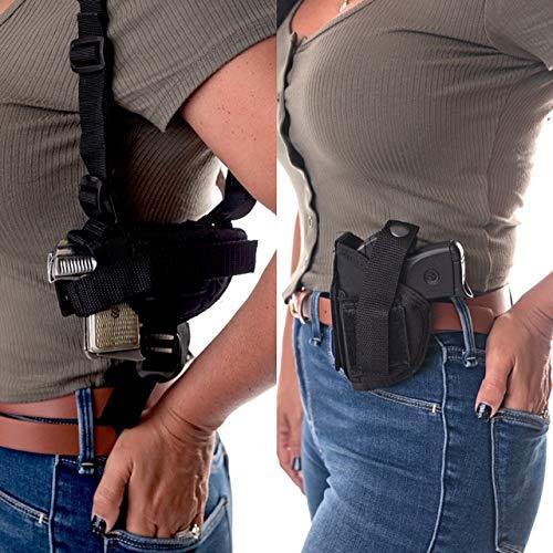 "Wyoming Holster  1 Gun Holster Shoulder/Hip FITS Ruger Security-9 9MM Luger 4"" Barrel MOSSBERG MC 2 S&W SW9VE 5900 Glock 17 19 22 23 30 31 32 G44 FN509 FXN 9MM Walther CCP M2 PK 380 PPQ SC 9MM 5"