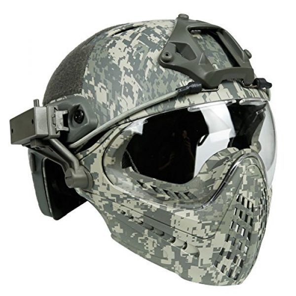 LEJUNJIE Airsoft Helmet 1 LEJUNJIE PJ Tactical Fast Helmet & Full-Covered Military Protective Army Combat Airsoft Paintball Helmet Protect Ears with Mask Goggle