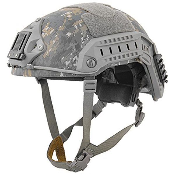 Lancer Tactical Airsoft Helmet 4 Lancer Tactical Medium - Large Industrial ABS Plastic Constructed Maritime Helmet Adjustable Crown 20mm Side Rail Adapter Velcro Padding Stickers NVG Shroud Bungee Retention - Woodland Camouflage