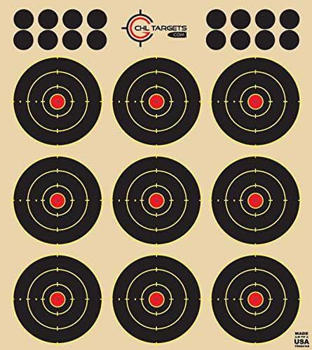 """CHLTargets.com Airsoft Target 2 Reactive Targets (Peel-and-Stick - Adhesive Target) 3"""" Bulls Eye 9-Up Target - Biggest Reactive/Splatter Effect Providing Visual Feedback & Easy Hit Identification 10"""" H x 11"""" W"""